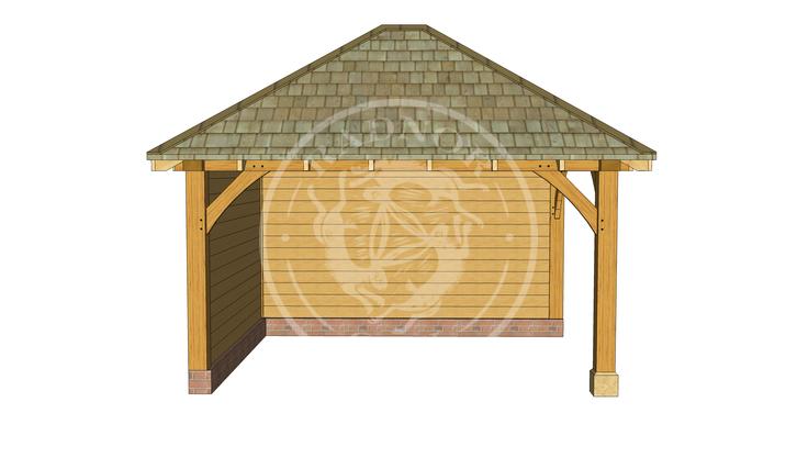 Medium Oak Framed Gazebo with full height walls | GM003 | Front | Radnor Oak
