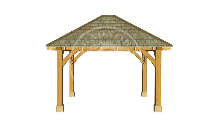 Small Oak Framed Gazebo | GS001 | FRONT | Radnor Oak