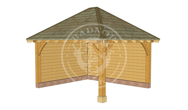 Medium Oak Framed Gazebo with full height walls | GM003 | Front Right | Radnor Oak