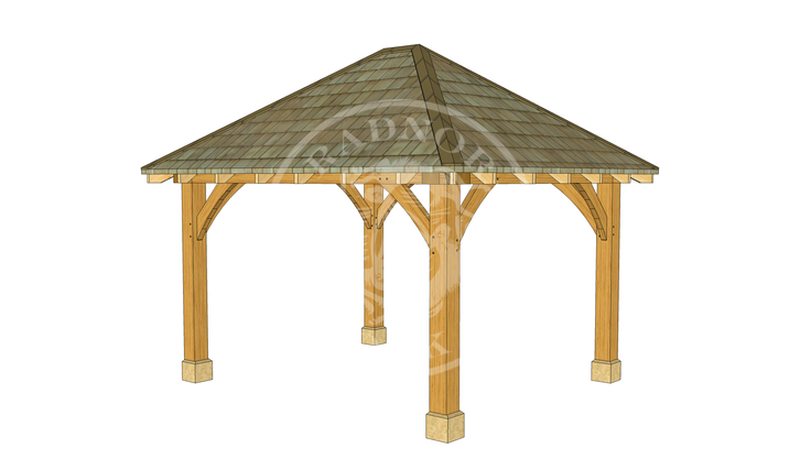 Small Oak Framed Gazebo | GS001 | FRONT RIGHT | Radnor Oak