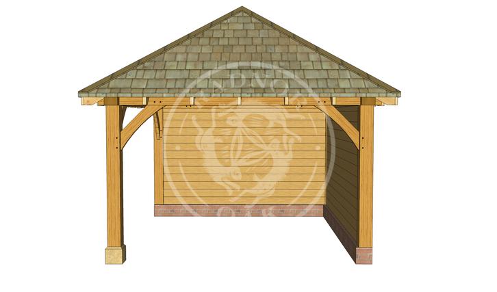 Medium Oak Framed Gazebo with full height walls | GM003 | Right | Radnor Oak