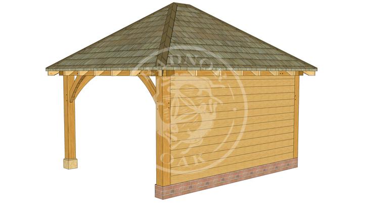 Medium Oak Framed Gazebo with full height walls | GM003 | Back Right Corner | Radnor Oak
