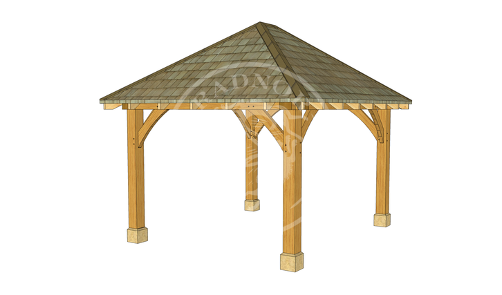 Small Oak Framed Gazebo | GS001 | BACK LEFT | Radnor Oak