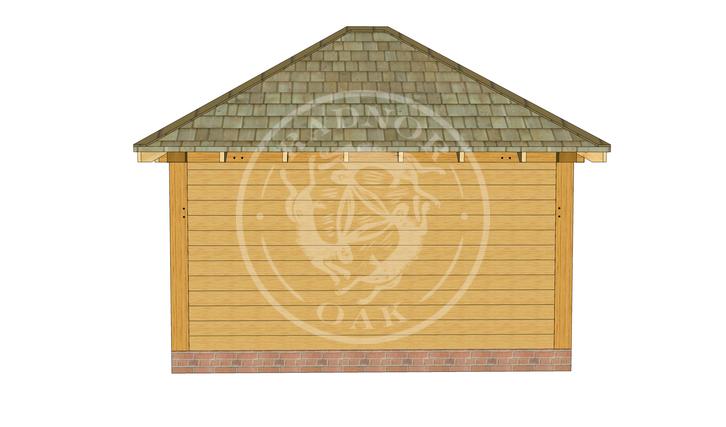 Medium Oak Framed Gazebo with full height walls | GM003 | BACK | Radnor Oak
