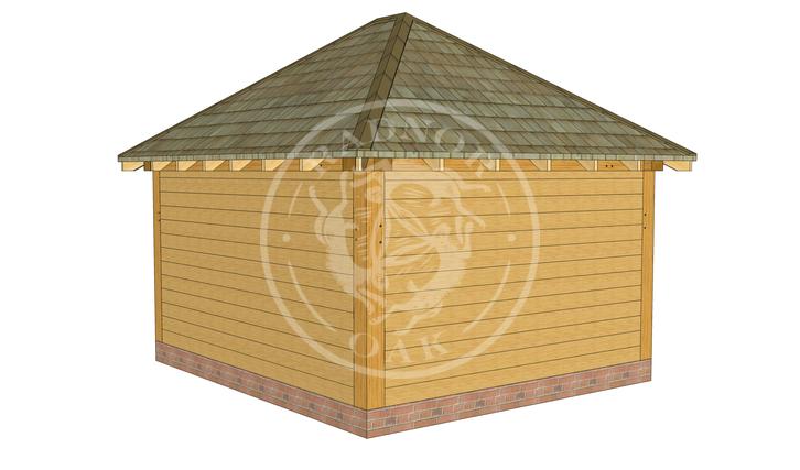 Medium Oak Framed Gazebo with full height walls | GM003 | Back Left Corner | Radnor Oak