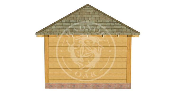 Medium Oak Framed Gazebo with full height walls | GM003 | Left Elevation | Radnor Oak