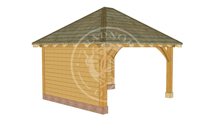 Medium Oak Framed Gazebo with full height walls | GM003 | Front Left Corner | Radnor Oak