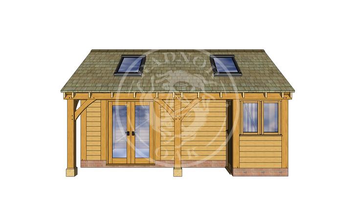 Oak Framed Summer House | Radnor Oak | SHL001 | FRONT