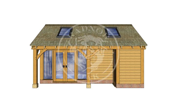 Oak Framed Summer House | Radnor Oak | SHL002 | FRONT