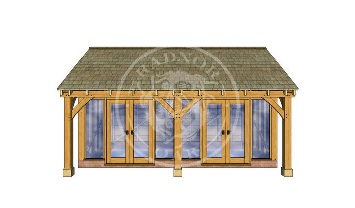 Oak Framed Summer House | Radnor Oak | SHL003 | FRONT