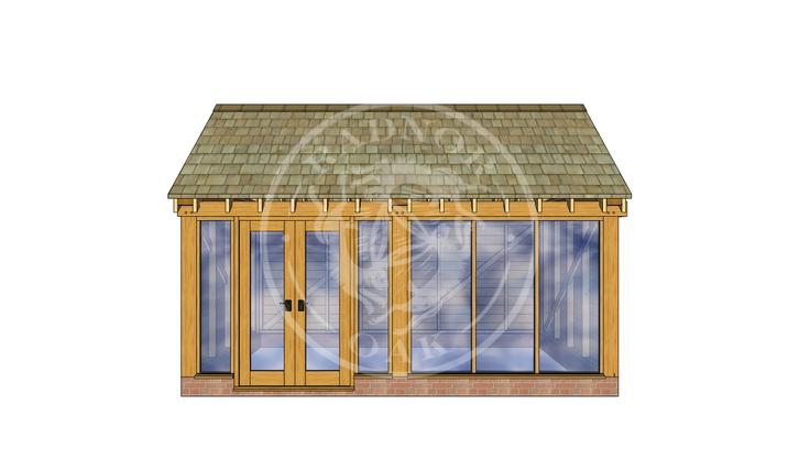 Oak Framed Summer House | Radnor Oak | SHM001 | FRONT