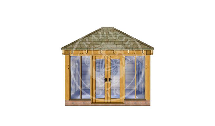 Oak Framed Summerhouse | Radnor Oak | SHS001 | FRONT