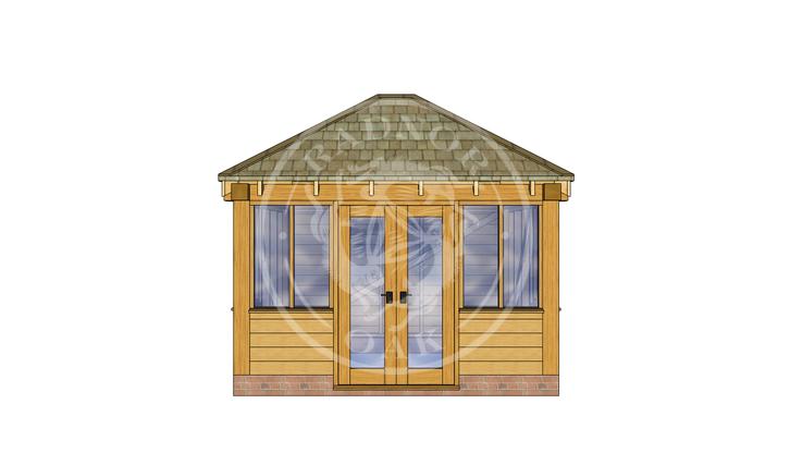 Oak Framed Summer House | Radnor Oak | SHS003 | FRONT