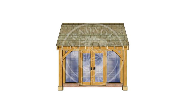 Oak Framed Summer House | Radnor Oak | SHS005 | FRONT
