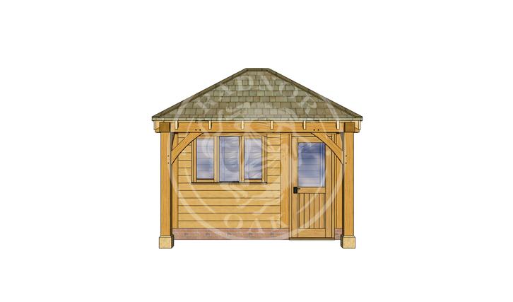 Oak Framed Summer House | Radnor Oak | SHS006 | FRONT