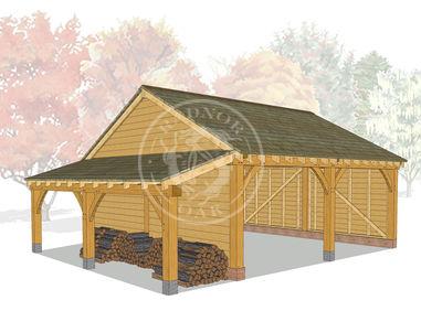 Open Fronted 2 Bay Oak Framed Garage with a log store | Byton Low Ridge | Model No. BYL2003 | Radnor Oak