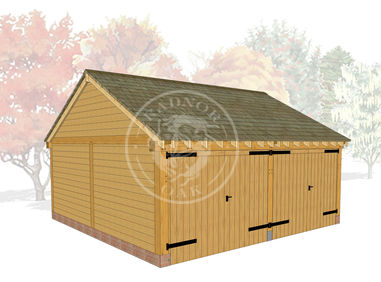 2 Bay Oak Framed Garage with double doors of both bays | Byton Low Ridge | Model No. BYL2004 | Radnor Oak buildings