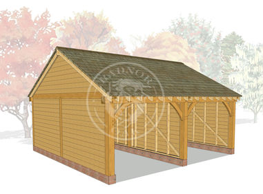 BYL2007 | 2 Bay Byton Low Ridge Oak Framed Garage | Radnor Oak