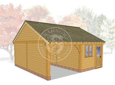 2 Bay Oak framed Garage and workshop | Byton Low Ridge | Model No. BYL2010 | Radnor Oak