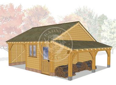 Model No. BYL2011 | Byton Low Ridge 2 Bay oak framed Garage and workshop | 3D visualistion | Radnor Oak