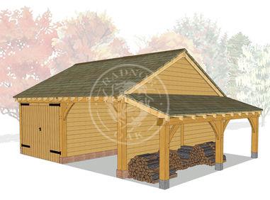 Two Bay Timber framed Garage with log store and enclosed garage | Model No. BYL2017 | Radnor Oak Framed Buildings