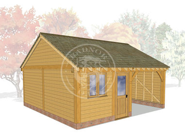 2 Bay Oak framed Garage and workshop | Byton Low Ridge | Model No. BYL2013 | Radnor Oak
