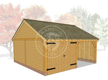 Byton Low Ridge 2 Bay Oak Framed Garage | Model No. BYL2016 | 3D Visual | Radnor Oak