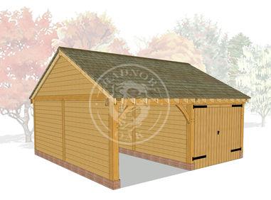 2 Bay Oak Framed garage | One Bay Open Fronted, the other Enclosed with Oak Double Doors | Byton Low Ridge | Model No. BYL2021 | Radnor Oak buildings