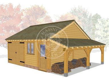 2 Bay Oak framed Garage and workshop with log store on the right   Byton Low Ridge   Model No. BYL2023   Radnor Oak buildings