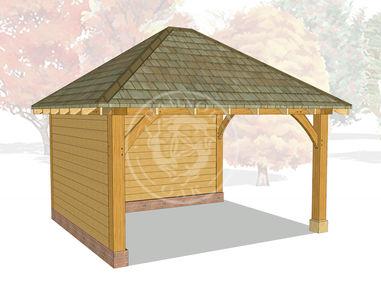 Medium Oak Framed Gazebo | Half Enclosed Outdoor Seating Area | GM003 | Radnor Oak