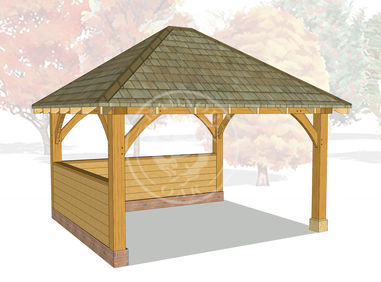 Medium Oak Framed Gazebo | Half Height Enclosed Garden Shelter | GM006 | Radnor Oak