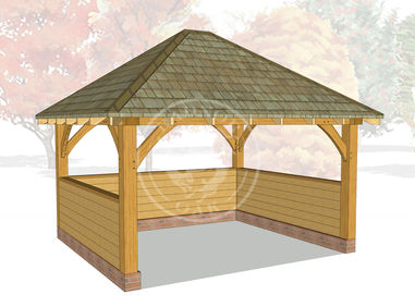 Medium Oak Framed Gazebo | Enclosed Outdoor Seating Area | GM007 | Radnor Oak