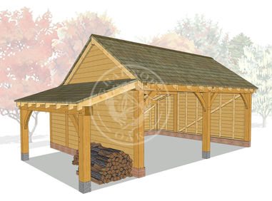 KI2003 | The Kinsham | 2 Bay Oak Framed garage with a left hand logstore | Radnor Oak