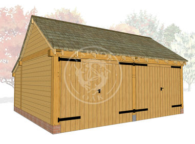 KI2004 | The Kinsham | 2 Bay Oak Framed garage with double doors | Radnor Oak