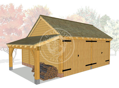 KI2006 | The Kinsham | 2 Bay Oak Framed garage with a log store | Radnor Oak