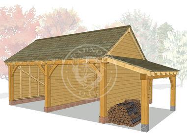 KI2008 | The Kinsham | 2 Bay Oak garage with a log store | Radnor Oak