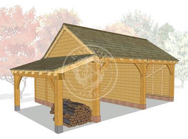 KI2009 | The Kinsham | 2 Bay Oak garage with a log store | Radnor Oak