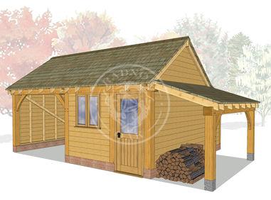 KI2011 | The Kinsham | 2 bay garage with a workshop | Oak Framed Garage | Radnor Oak