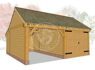 KI2019 | The Kinsham | Oak Garage with one bay enclosed | Radnor Oak