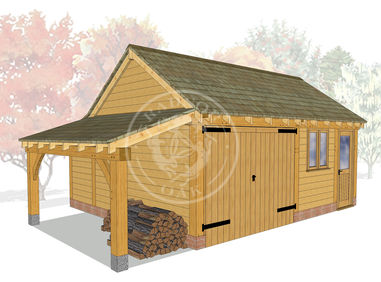 KI2024 | The Kinsham | 2 Bay oak framed garage | Workshop, Garage & Log store | Radnor Oak