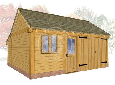 KI2025 | The Kinsham | 2 Bay Oak Garage with a workshop and enclosed garage | Radnor Oak