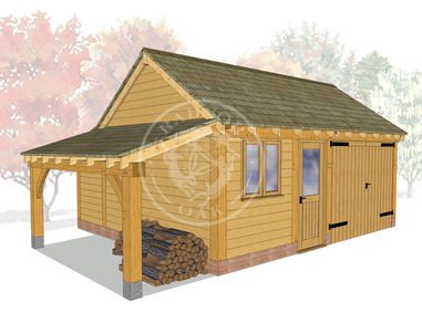KI2027 | The Kinsham | 2 Bay oak framed garage | Workshop, Garage & Log store | Radnor Oak