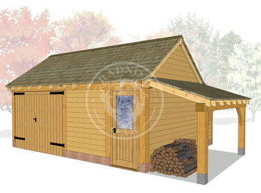 KI2029 | The Kinsham | 2 Bay oak framed garage | Workshop, Garage & Log store | Radnor Oak