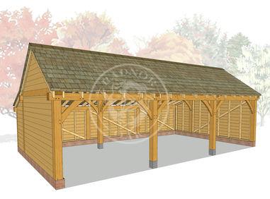 KI3001 | The Kinsham | Open Fronted Oak Framed Garage | Radnor Oak