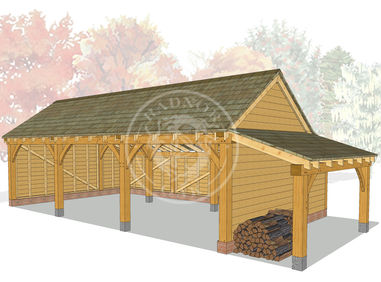 KI3002 | The Kinsham | 3 Bay open fronted oak Framed garage with a log store | Radnor Oak