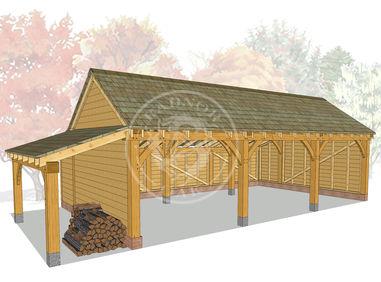 KI3003 | The Kinsham | 3 Bay open Fronted Oak framed garage with left hand log store | Radnor Oak