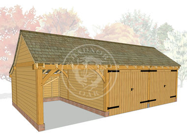 KI3004 | The Kinsham | 3 Bay Oak Framed Garage with double doors on 2 bays | Radnor Oak
