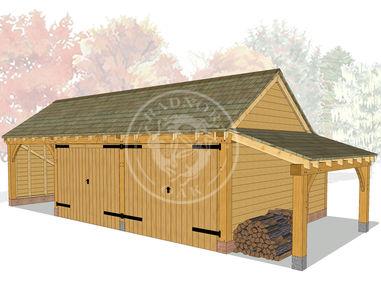 KI3005 | The Kinsham | 3 Bay Oak Framed Garag with 2 enclosed bays | Radnor Oak