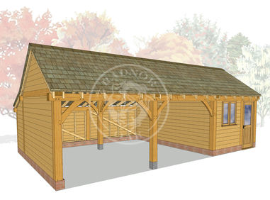 KI3007 | The Kinsham | 3 Bay Oak Framed Garage with a workshop | Radnor Oak