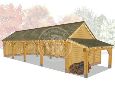 kI4002 | The Kinsham | 4 Bay Oak Framed Garage | Radnor Oak